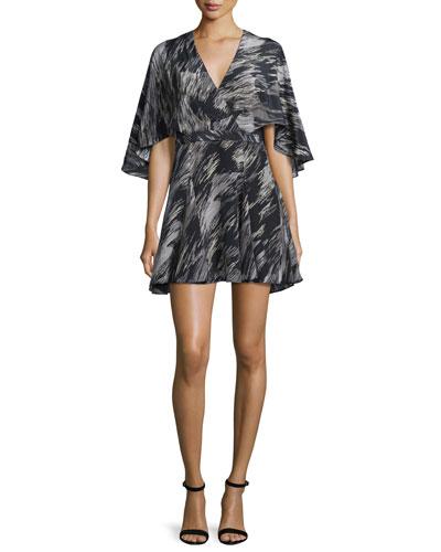 Cape-Sleeve V-Neck Mini Dress, Black Ripple Texture