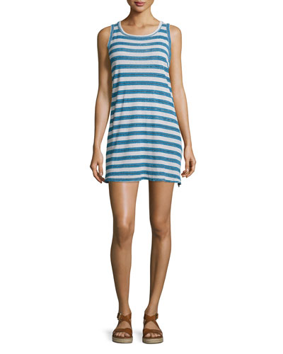 The Muscle Tee Striped Tank Dress, Blue Wayfarer