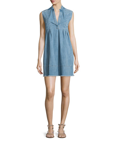 The Sleeveless Tuck-Pleated Denim Dress, Mid-Day