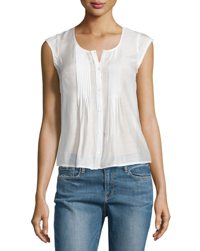 Victorian Button-Front Top, Blanc
