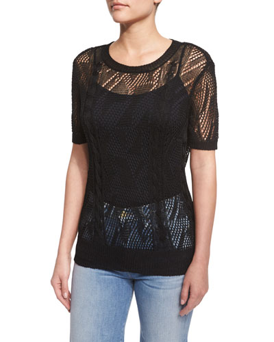 Cropped Short-Sleeve Sweater, Black