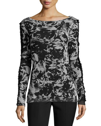 Bateau-Neck Rose-Print Sweater, Black/White