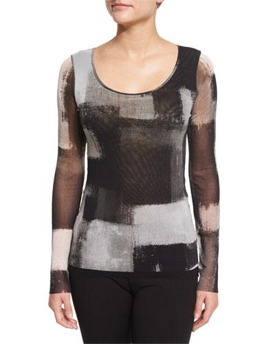 Block-Print Long-Sleeve Blouse, Black/White