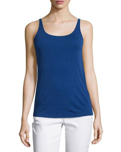 Stretch-Silk Long Camisole, Sapphire, Petite