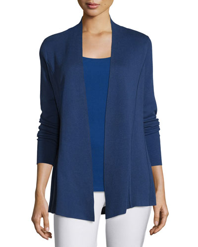Lightweight Organic Cotton-Blend Cardigan, Sapphire, Plus Size
