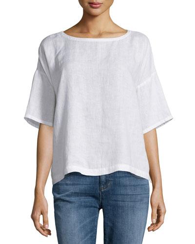 Short-Sleeve Linen Boxy Top, Plus Size