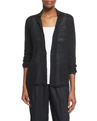 Fine-Gauge Organic Linen Blazer, Petite