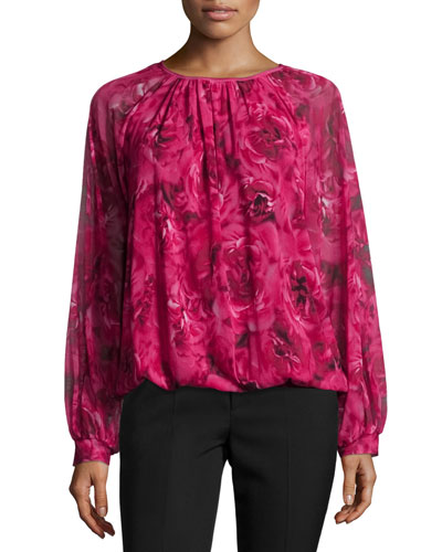 Ruched-Neck Rose-Print Blouse, Purple