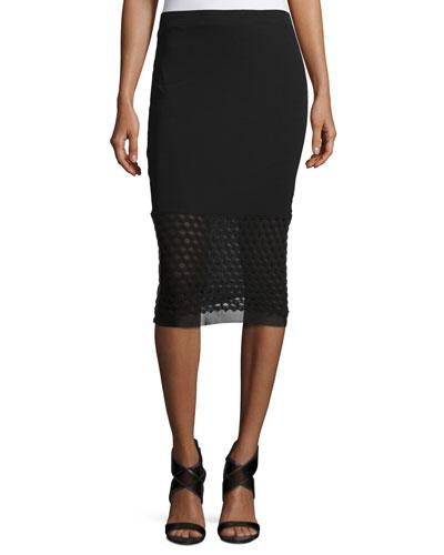 Slim-Fit Pencil Skirt, Black