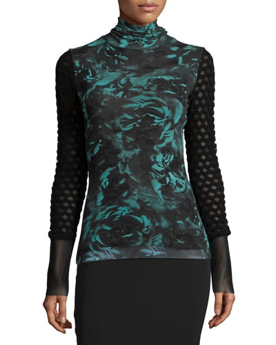 Long-Sleeve Rose-Print Turtleneck Top, Universo