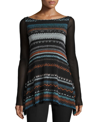 Boho-Stripe Sheer-Sleeve Top, Black/Multi