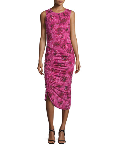 Sleeveless Ruched Rose-Print Dress