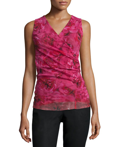 Sleeveless Rose-Print Ruched Top