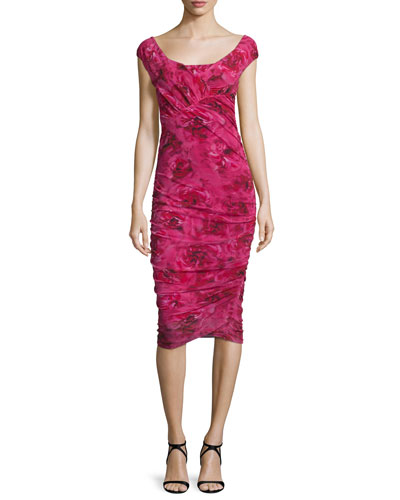Cap-Sleeve Ruched Rose-Print Dress