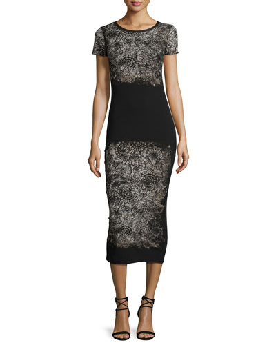 Short-Sleeve Abstract-Print Midi Dress, Nero