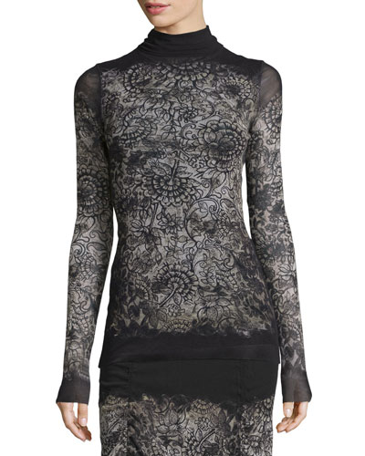 Long-Sleeve Abstract-Print Blouse, Black