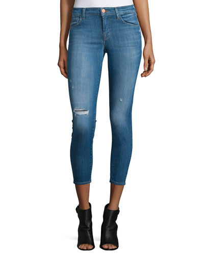 Mid-Rise Distressed Cropped Skinny Jeans, Collision