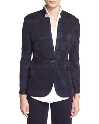 Textured Square One-Button Jacket, Navy, Petite