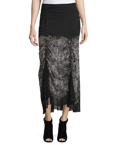 Midi Skirt with Victorian Hem, Black