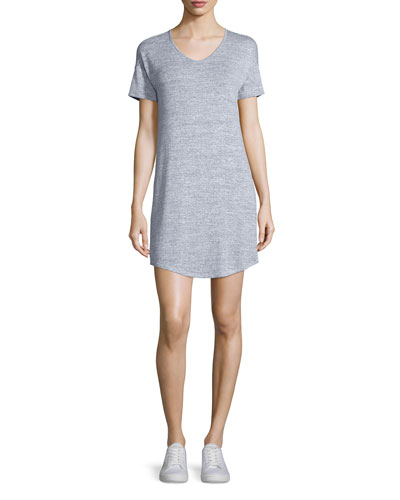 Melrose Short-Sleeve T-Shirt Dress, Light Heather Gray
