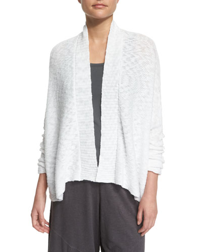 Nubble Links Shirt Cardigan, White