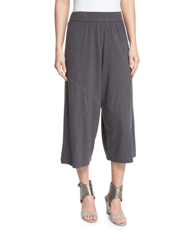 Wide-Leg Hemp Twist Cropped Pants, Bark