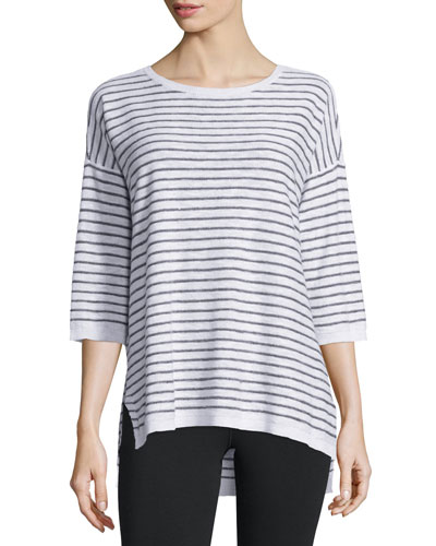 Slub Striped Linen/Cotton Tunic, White