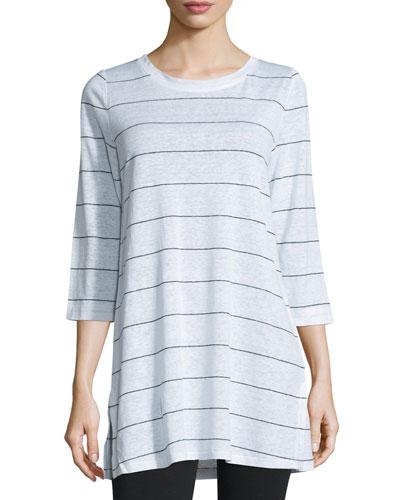 3/4-Sleeve Wide-Striped Linen Jersey Tunic