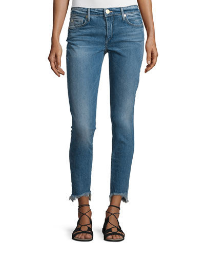 Halle Super-Skinny Raw-Hem Jeans, Gypset Blue