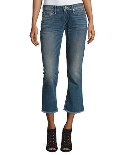 Karlie Bell-Bottom Cropped Jeans, Blue Z