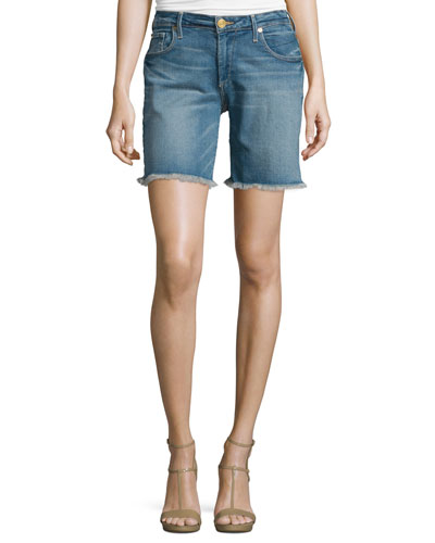 Emma Raw-Hem Denim Bermuda Shorts, Gypset Blue