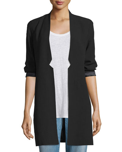 Structured Silk Notched-Collar Long Jacket, Petite
