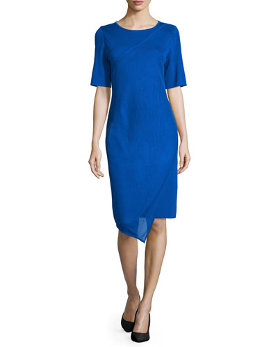 Short-Sleeve Asymmetric Sheath Dress, True Blue, Plus Size