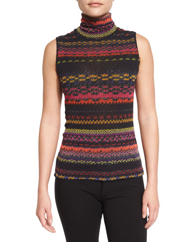 Sleeveless Striped Turtleneck Sweater, Purple