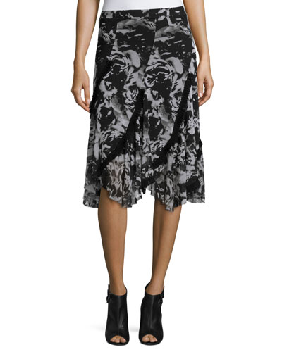 Printed Asymmetric Midi Skirt, Black