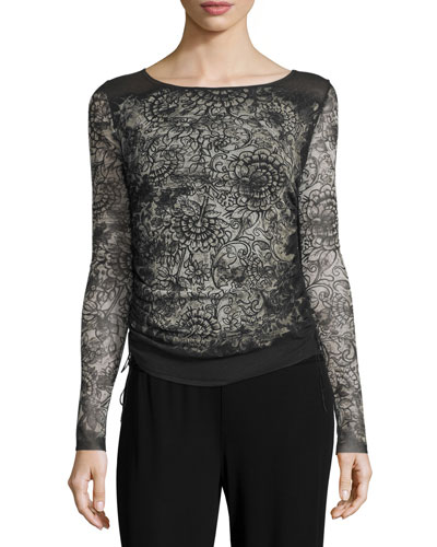 Long-Sleeve Abstract-Print Top, Black