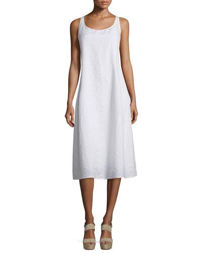 Sleeveless Linen Scoop-Neck Tank Dress, Petite