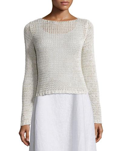 Long-Sleeve Crisp Cotton Crop Top, Plus Size
