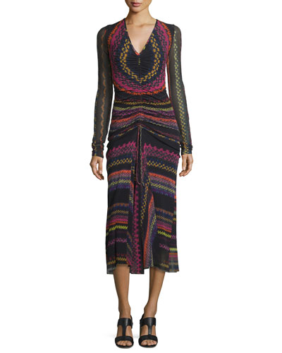 Ruched Blanket-Print Midi Dress, Black/Multi
