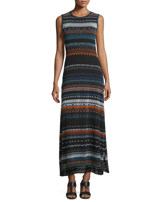 Sleeveless Tribal-Print Maxi Dress, Blue Universal