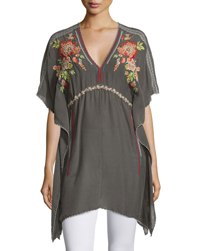 Cherise V-Neck Embroidered Poncho Top, Iron Steel, Plus Size