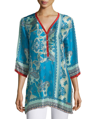 Bessy Button-Front Easy Tunic, Multi Colors