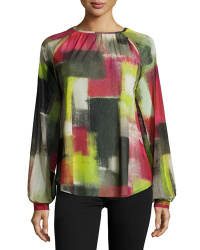 Cubism Ruched-Neck Printed Blouse, Multi