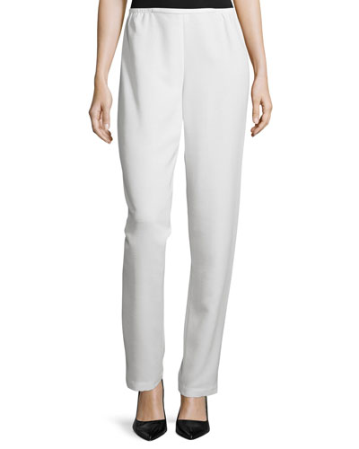 Shantung Straight-Leg Pants, White, Petite