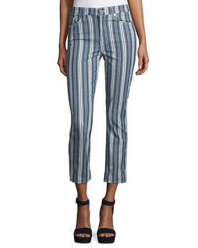 Mid-Rise Straight-Leg Cropped Jeans, Indigo Stripe