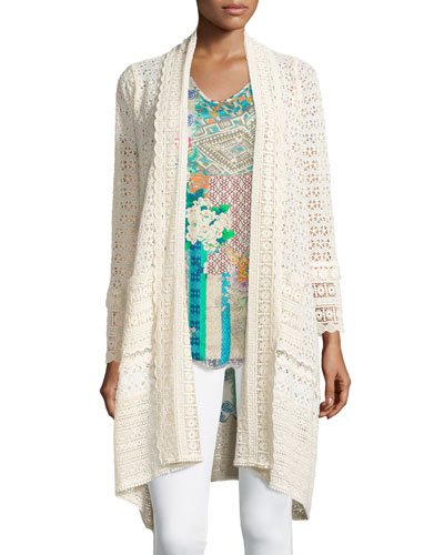 Long Crochet Open Jacket, Natural, Plus Size