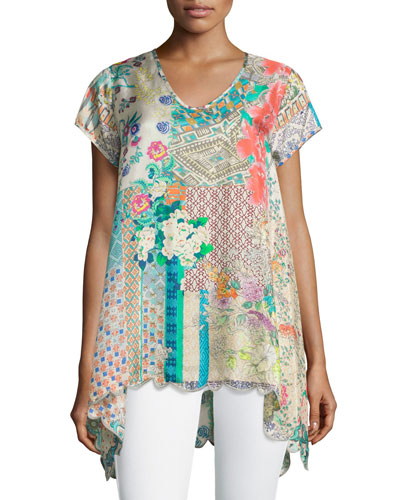 Azzy Printed Trapeze Top, Plus Size