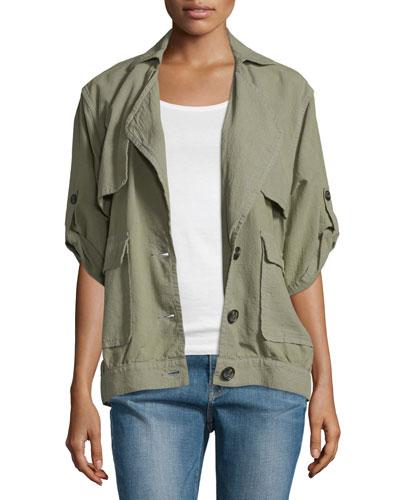 Oversized Half-Sleeve Jacket, Olive