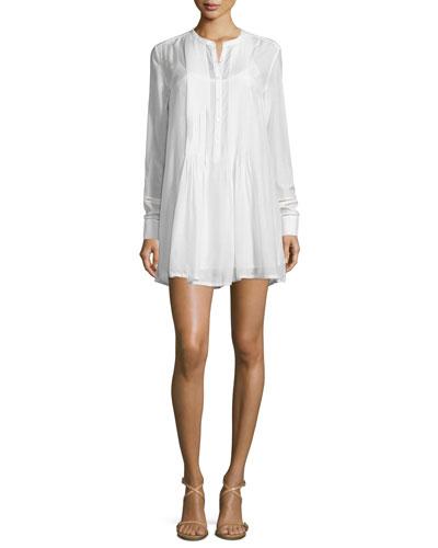 Victorian Button-Front Shirtdress, Blanc