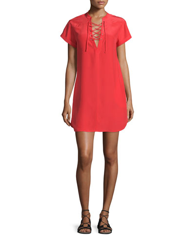 Le Lace-Up Silk Shift Dress, Blood Orange